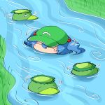 1girl blue_hair blush_stickers closed_eyes grass green_headwear hair_between_eyes in_water kappa kawashiro_nitori river riverbank shimizu_pem tagme touhou twintails water