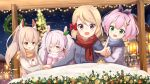 4girls :d ;) ame. animal_ears ayanami_(azur_lane) azur_lane bangs black_ribbon blue_scarf blush bow breath brown_jacket brown_scarf christmas christmas_ornaments christmas_tree christmas_wreath closed_mouth commentary_request eyebrows_visible_through_hair fringe_trim green_eyes grey_jacket hair_between_eyes hair_bow hair_ornament hair_ribbon headgear high_ponytail jacket javelin_(azur_lane) laffey_(azur_lane) light_brown_hair long_sleeves looking_at_viewer multiple_girls night night_sky one_eye_closed open_mouth outdoors pink_hair pink_jacket pointing ponytail rabbit_ears red_bow red_eyes red_scarf ribbon scarf sidelocks silver_hair sky smile snow snowing star star_hair_ornament twintails violet_eyes z23_(azur_lane)