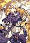 1girl akae_neo armor armored_dress bangs black_gloves blonde_hair blue_eyes blush braid breasts chain commentary_request dress eyebrows_visible_through_hair fate/grand_order fate_(series) flag gloves grin headpiece highres holding holding_flag jeanne_d'arc_(fate) jeanne_d'arc_(fate)_(all) long_hair looking_at_viewer medium_breasts purple_dress purple_legwear smile solo standing standing_on_one_leg sword thigh-highs v-shaped_eyebrows very_long_hair weapon