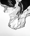 1girl brush greyscale hatching_(texture) highres holding holding_brush holding_pen long_hair mashimashi monochrome original parted_lips pen simple_background solo traditional_media white_background