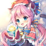 1girl :d animal_ear_fluff animal_ears bangs bell blue_bow blue_eyes blush bow capelet cat_ears cat_girl cat_tail christmas commentary_request eyebrows_visible_through_hair fang frilled_capelet frills fur-trimmed_hat hair_bow hat long_hair long_sleeves looking_at_viewer low_twintails mauve mittens open_mouth original pink_hair puffy_long_sleeves puffy_sleeves red_capelet red_headwear red_mittens smile solo striped striped_bow tail tail_raised twintails upper_body