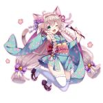 1girl ;3 ;d animal_ear_fluff animal_ears bell black_footwear blue_kimono blue_sleeves blush bow braid brown_hair calligraphy_brush cat_ears cat_girl cat_tail commentary_request fangs floral_print flower full_body hair_bell hair_bow hair_flower hair_ornament holding holding_paintbrush japanese_clothes jingle_bell kimono long_sleeves obi one_eye_closed open_mouth original paintbrush paw_pose pink_flower pink_outline print_kimono purple_bow reimin ribbon-trimmed_legwear ribbon_trim sash sleeveless sleeveless_kimono smile solo tail thigh-highs twin_braids white_background white_legwear wide_sleeves zouri