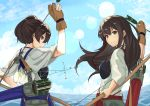 2girls akagi_(kantai_collection) arrow bow_(weapon) brown_eyes brown_gloves brown_hair from_behind gloves hakama_skirt highres hina_komochi holding holding_arrow holding_bow_(weapon) holding_weapon kaga_(kantai_collection) kantai_collection long_hair looking_at_viewer multiple_girls muneate partly_fingerless_gloves quiver red_skirt side_ponytail single_glove skirt smile tasuki upper_body weapon yugake yumi_(bow)