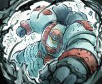 clenched_hands dust_cloud giant_robo giant_robo_(mecha) highres ishiyumi mecha no_humans punching punching_at_viewer super_robot