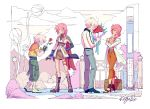 1boy 1girl age_progression boots bouquet dual_persona final_fantasy final_fantasy_xiii flower gunblade high_heels hope_estheim keju_doodlez lightning_farron lightning_returns:_final_fantasy_xiii looking_at_another older pink_hair silver_hair smile spoilers standing trembling weapon