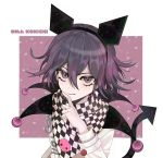 1boy animal_ears character_name checkered checkered_scarf commentary danganronpa demon_tail fake_animal_ears hair_between_eyes heart highres jacket long_sleeves looking_at_viewer male_focus medium_hair ouma_kokichi pale_skin peosi_(percy) purple_hair scarf skull smile tail violet_eyes white_jacket