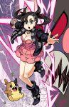 1girl alex_ahad asymmetrical_bangs asymmetrical_hair bangs black_choker black_jacket black_nails choker dress gen_8_pokemon highres holding holding_poke_ball jacket mary_(pokemon) morpeko pink_dress poke_ball poke_ball_(generic) pokemon pokemon_(creature) pokemon_(game) pokemon_swsh team_yell