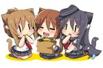3girls :d akatsuki_(kantai_collection) animal_ear_fluff animal_ears bag bangs black_hair black_headwear black_legwear black_sailor_collar black_skirt blush brown_hair cat_ears cat_girl cat_tail chibi closed_eyes colored_shadow doughnut eating eyebrows_visible_through_hair fang flat_cap folded_ponytail food hair_between_eyes hat holding holding_bag holding_food ikazuchi_(kantai_collection) inazuma_(kantai_collection) kantai_collection kemonomimi_mode kneehighs long_hair multiple_girls no_shoes open_mouth oshiruko_(uminekotei) pantyhose paper_bag pleated_skirt red_neckwear sailor_collar school_uniform serafuku shadow shirt short_sleeves skirt smile tail thigh-highs tilted_headwear very_long_hair white_background white_shirt |_|