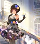 1girl bang_dream! bangs black_choker black_dress black_gloves black_hair black_legwear blue_butterfly blue_flower blunt_bangs blurry_foreground braid breasts butterfly_on_finger butterfly_on_hand choker commentary cowboy_shot dress elbow_gloves floral_print flower frilled_dress frills gloves hair_flower hair_ornament hairband hand_up indoors jewelry large_breasts light_particles light_rays looking_at_viewer necklace o_n_j_i pantyhose purple_flower rose sash shirokane_rinko sidelocks sleeveless sleeveless_dress smile solo stairs violet_eyes white_butterfly window wrist_cuffs yellow_flower