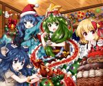 4girls :d :o arms_up backpack bag bangle bangs bell black_vest blonde_hair blue_bow blue_eyes blue_hair blue_jacket blue_skirt blush bow bracelet brown_dress cake christmas christmas_wreath commentary_request drawstring dress eyebrows_visible_through_hair finger_in_mouth food fork frilled_bow frilled_ribbon frills front_ponytail green_eyes green_hair grey_hoodie hair_bell hair_bobbles hair_bow hair_ornament hair_ribbon hand_up hat highres holding holding_fork holding_plate hood hoodie index_finger_raised indoors jacket jewelry kagiyama_hina kawashiro_nitori key long_hair long_sleeves merry_christmas multiple_girls open_mouth plate pom_pom_(clothes) red_bow red_eyes red_headwear red_neckwear red_ribbon ribbon rumia ruu_(tksymkw) santa_hat shirt skirt skirt_set smile star tears touhou turkey_(food) two_side_up upper_body vest white_shirt yorigami_shion