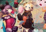 abigail_williams_(fate/grand_order) bandaid_on_forehead bangs black_bow black_jacket blonde_hair blue_eyes bow crossed_bandaids fate/grand_order fate_(series) forehead hair_bun hair_ornament hairpin heroic_spirit_traveling_outfit jacket katsushika_hokusai_(fate/grand_order) long_hair long_sleeves multiple_bows orange_belt orange_bow parted_bangs polka_dot polka_dot_bow purple_hair short_hair sleeves_past_fingers sleeves_past_wrists stuffed_animal stuffed_toy teddy_bear violet_eyes