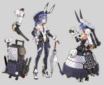 1girl android animal_ears blue_hair blue_neckwear breasts bunny_girl bunnysuit detached_collar full_body glasses headgear high_heels highres katahira_masashi leotard long_hair multiple_views necktie original rabbit_ears red_eyes small_breasts strapless strapless_leotard umbrella white_leotard wrist_cuffs