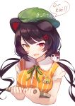 1girl animal_ears bangs baseball_cap black_hair blush brat breasts brown_eyes collared_shirt commentary_request cropped_torso dog_ears dog_hair_ornament dress_shirt eyebrows_behind_hair fang flower green_headwear hair_flower hair_ornament hat heterochromia highres holding holding_tray inui_toko long_hair looking_at_viewer low_twintails medium_breasts nijisanji open_mouth red_eyes red_flower romaji_text shirt short_sleeves simple_background solo striped striped_shirt tray twintails upper_body vertical-striped_shirt vertical_stripes virtual_youtuber white_background yellow_shirt