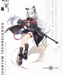 1girl absurdres accuracy_international animal_ear_fluff animal_ears anti-materiel_rifle artist_name bandaged_leg bandages bipod black_coat black_footwear black_legwear black_panties black_skirt blue_eyes boots cat_ears coat commentary_request dated floating_hair full_body gun hair_ornament headphones headphones_around_neck highres holding holding_gun holding_weapon j-cube leg_belt long_hair long_sleeves looking_at_viewer low_twintails military miniskirt multicolored_hair open_clothes open_coat original panties rifle science_fiction shirt silver_hair skirt sniper_rifle socks solo thighs twintails two-tone_hair underwear very_long_hair weapon white_background white_shirt