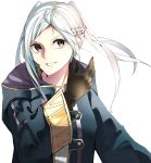 1girl absurdres ahoge bangs braid brown_eyes brown_gloves cloak crown_braid fire_emblem fire_emblem_awakening gloves grin highres leather leather_gloves long_sleeves looking_at_viewer medium_hair parted_bangs parted_lips robin_(fire_emblem) robin_(fire_emblem)_(female) silver_hair simple_background smile solo tpicm twintails upper_body white_background wide_sleeves