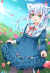 1girl :d animal_ears artist_name blue_dress blue_sky blush cat_ears clouds dated day dress flower frills green_eyes hair_ribbon highres long_sleeves michiru_donut open_mouth original outdoors pantyhose petals pink_ribbon red_ribbon ribbon sidelocks silver_hair skirt_hold sky smile solo standing twintails white_hair