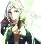 1girl ahoge bangs braid brown_eyes brown_gloves cloak crown_braid fire_emblem fire_emblem_awakening gloves grin highres leather leather_gloves long_sleeves looking_at_viewer magic magic_circle medium_hair parted_bangs parted_lips robin_(fire_emblem) robin_(fire_emblem)_(female) silver_hair simple_background smile solo tpicm twintails upper_body white_background wide_sleeves