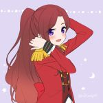 1girl :d aikatsu!_(series) aikatsu_stars! back_bow bangs blush bow brown_hair brown_vest crescent epaulettes eyebrows_visible_through_hair hoshino_kagari jacket kasumi_yozora long_hair long_sleeves open_clothes open_jacket open_mouth parted_bangs ponytail purple_background red_bow red_jacket s4_uniform skirt smile solo star twitter_username upper_body very_long_hair vest violet_eyes white_skirt