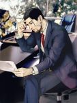 1boy beard black_hair blurry blurry_background chair computer contemporary day facial_hair formal golden_kamuy highres indoors karin_nishipa laptop long_sleeves male_focus necktie ogata_hyakunosuke paper photo_background red_neckwear scar sitting solo suit table watch watch window