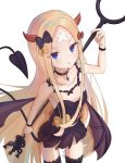 1girl abigail_williams_(fate/grand_order) alternate_costume bandaid_on_forehead bangs bare_shoulders black_bow black_dress black_hair blonde_hair blue_eyes blush bow breasts collarbone cross_choker crossed_bandaids demon_girl demon_horns demon_tail demon_wings dress fate/grand_order fate_(series) forehead highres horns long_hair looking_at_viewer mikami_hotaka open_mouth orange_bow parted_bangs simple_background small_breasts solo staff tail thigh-highs thighs white_background wings wristband