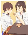 2girls ^_^ akagi_(kantai_collection) blue_hakama blue_skirt blush bou_(wataame) brown_eyes brown_hair closed_eyes facing_another food fruit hakama hakama_skirt japanese_clothes kaga_(kantai_collection) kantai_collection kotatsu long_hair looking_at_another mandarin_orange multiple_girls sitting skirt smile table