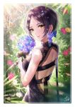 1girl backless_outfit belt bouquet brown_hair bug butterfly character_name earrings eyebrows_visible_through_hair flower flower_earrings hair_flower hair_ornament hayami_kanade highres idolmaster idolmaster_cinderella_girls ilo insect jewelry lips looking_at_viewer looking_back short_hair signature smile solo sunlight yellow_eyes