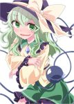 1girl bangs bow breasts collared_shirt eyebrows_visible_through_hair eyes_visible_through_hair frilled_shirt_collar frilled_skirt frilled_sleeves frills furrowed_eyebrows green_eyes green_hair green_skirt hair_between_eyes hat hat_bow heart heart_of_string highres komeiji_koishi long_hair long_sleeves looking_at_viewer miniskirt mr.milk_caramel open_mouth purple_headwear shirt simple_background skirt small_breasts solo sweat third_eye touhou wavy_hair white_background yellow_bow yellow_shirt