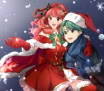1boy 1girl alm_(fire_emblem) alternate_costume bell belt celica_(fire_emblem) dress fire_emblem fire_emblem_echoes:_shadows_of_valentia fur_trim gloves green_hair hat long_hair long_sleeves misu_kasumi open_mouth pom_pom_(clothes) red_eyes red_gloves red_headwear redhead santa_hat scarf short_hair snowflakes snowing