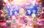 blonde_hair bush christmas clarice_(idolmaster) closed_eyes dress idolmaster_cinderella_girls_starlight_stage long_hair smile