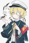 1boy 2019 bandage_over_one_eye beak_hold bird blonde_hair blue_capelet blue_jacket box capelet character_name closed_mouth commentary cookie crumbs dated feeding flying food hands_up hat holding holding_box holding_food jacket james_(vocaloid) looking_at_viewer male_focus nattu_bon neck_ribbon oliver_(vocaloid) ribbon sailor_collar sailor_hat shirt short_hair solo upper_body vocaloid white_shirt yellow_eyes yellow_ribbon