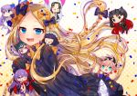 abigail_williams_(fate/grand_order) akirannu bangs black_bow black_dress black_headwear blonde_hair blue_eyes blush bow breasts dress fate/grand_order fate_(series) forehead hair_bow highres long_hair long_sleeves looking_at_viewer multiple_bows open_mouth orange_bow parted_bangs polka_dot polka_dot_bow sleeves_past_fingers sleeves_past_wrists smile stuffed_animal stuffed_toy teddy_bear very_long_hair white_bloomers