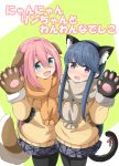 2girls :d absurdres aikawa_ryou animal_ear_fluff animal_ears bangs black_gloves black_hairband black_legwear blue_eyes blue_hair blue_skirt blush brown_gloves brown_scarf brown_shirt cat_ears cat_girl cat_tail commentary_request cover cover_page dog_ears dog_girl dog_tail eyebrows_visible_through_hair fake_animal_ears fur-trimmed_gloves fur_trim gloves green_background grey_scarf hair_between_eyes hairband hand_on_another's_waist highres kagamihara_nadeshiko long_hair long_sleeves multiple_girls open_mouth pantyhose paw_gloves paws pink_hair pleated_skirt red_ribbon ribbon scarf shima_rin shirt skirt smile tail tail_raised tail_ribbon translation_request two-tone_background violet_eyes white_background yurucamp