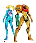 1girl arm_cannon armor arms_at_sides ass blonde_hair harymachinegun helmet long_hair metroid multiple_views ponytail power_suit samus_aran simple_background standing weapon white_background zero_suit