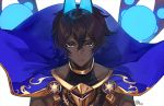 1boy arjuna_(fate/grand_order) arjuna_alter bangs black_eyes black_hair blue_cape cape closed_mouth dark_skin fate/grand_order fate_(series) horns looking_at_viewer male_focus nagu short_hair simple_background solo upper_body white_background