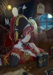 1girl absurdres barrel beer_can breasts can commentary_request eyepatch gloves gold_coin hat highres hololive houshou_marine inorihisa_nanaku looking_at_viewer pirate_hat red_eyes redhead ship_in_a_bottle sitting skull smile solo treasure_chest virtual_youtuber wanted white_gloves window