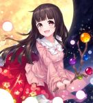 1girl :d bangs black_hair blush bow bowtie branch breasts brown_eyes commentary_request danmaku eyebrows_visible_through_hair floral_print frilled_shirt_collar frills full_moon holding holding_branch houraisan_kaguya kyouou_ena long_hair long_sleeves looking_at_viewer medium_breasts moon night night_sky open_mouth outdoors petticoat pink_shirt red_skirt shirt skirt sky smile solo touhou white_bow white_neckwear wide_sleeves