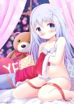 1girl bangs bare_legs bare_shoulders bed_sheet blue_bra blue_eyes blue_hair blue_panties blurry blurry_background blush bow bow_bra bow_panties bra christmas closed_mouth commentary curtains detached_sleeves english_commentary eyebrows_visible_through_hair feet_out_of_frame fur_trim gochuumon_wa_usagi_desu_ka? hair_between_eyes hair_ornament kafuu_chino kittipat_jituatakul long_hair looking_at_viewer navel panties pillow sitting solo stuffed_animal stuffed_toy teddy_bear underwear underwear_only very_long_hair window x_hair_ornament yes yes-no_pillow