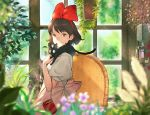 1girl animal animal_on_shoulder apron bangs black_cat blurry bob_cut bow brown_eyes brown_hair cat cat_on_shoulder cat_teaser chair closed_mouth commentary_request depth_of_field dress flower from_side hair_bow hairband hanging_plant herb_bundle highres indoors jiji_(majo_no_takkyuubin) kiki kuroimori looking_at_viewer looking_to_the_side machinery majo_no_takkyuubin pink_apron plant potted_plant puffy_short_sleeves puffy_sleeves red_bow short_hair short_sleeves smile swept_bangs table tablecloth white_dress window