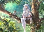 1girl achyue animal arknights bangs belt bird blue_hair blurry bokeh boots crossed_ankles day depth_of_field dress hair_flaps highres holding holding_staff in_tree jacket light_particles long_hair looking_at_viewer nature orange_eyes owl ptilopsis_(arknights) sidelocks sitting staff thigh-highs thigh_boots thigh_strap tree turtleneck white_dress white_footwear white_jacket