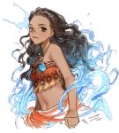 1girl artist_name bare_shoulders brown_eyes brown_hair character_name closed_mouth copyright_name curly_hair dark_skin dated empew frown hair_slicked_back halter_top halterneck jewelry long_hair looking_at_viewer midriff moana_(movie) moana_waialiki necklace simple_background solo strapless tubetop upper_body water white_background