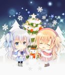 2girls :d bangs black_legwear blue_bow blue_capelet blue_dress blue_eyes blush boots bow brown_footwear capelet chibi christmas christmas_ornaments christmas_tree closed_eyes closed_mouth commentary dress english_commentary eyebrows_visible_through_hair fur-trimmed_boots fur-trimmed_capelet fur_trim hair_between_eyes hair_bow hair_ribbon hat hood hood_down hooded_capelet light_brown_hair long_hair long_sleeves looking_at_viewer multiple_girls one_side_up open_mouth original pantyhose pink_dress pink_headwear pink_ribbon pleated_dress red_capelet ribbon shirogane_hina silver_hair smile snow snowflakes snowman standing star striped striped_bow suzune_(shirogane_hina) very_long_hair white_ribbon