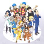 5girls 6+boys artist_(pokemon) backpack backpacker_(pokemon) bag bangs black_hair black_vest blonde_hair blue_eyes blue_gloves blue_jacket blue_pants blue_shirt blush_stickers bodysuit braid brown_eyes brown_footwear brown_hair brown_jumpsuit business_suit cellphone chonmage clenched_hand commentary cosplay doctor_(pokemon) eevee eevee_(cosplay) flower formal from_above full_body gen_1_pokemon glasses gloves gradient gradient_background green_eyes grey_gloves grey_hair hair_bun hand_up headband helmet holding holding_phone hood jacket labcoat long_sleeves looking_at_viewer multiple_boys multiple_girls necktie office_lady office_worker_(pokemon) official_art one_eye_closed open_mouth overalls pants phone pikachu pikachu_(cosplay) poke_ball_symbol poke_kid_(pokemon) pokemon pokemon_(game) pokemon_swsh police_officer_(pokemon) red_neckwear safety_vest sakuma_sanosuke shirt short_hair short_sleeves signature simple_background smartphone smile suit surgical_mask tail vest waving white_footwear white_pants worker_(pokemon) yellow_flower