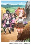 3girls :d animal_ears apron arm_up bangs bare_arms bare_shoulders bear_ears bear_girl bear_paw_hammer bergman's_bear_(kemono_friends) black_bow black_hair black_legwear black_neckwear black_skirt bow bowtie breast_pocket brown_bow brown_eyes brown_legwear brown_neckwear brown_skirt buttons coat collared_shirt company_name copyright day empty_eyes extra_ears eyebrows_visible_through_hair ezo_brown_bear_(kemono_friends) flower frilled_skirt frills fur_trim grey_hair grey_neckwear hand_on_hip headband high-waist_skirt high_collar high_ponytail holding holding_weapon kemono_friends kemono_friends_3 kodiak_bear_(kemono_friends) long_hair looking_at_another medium_hair microskirt miniskirt multicolored_hair multiple_girls necktie official_art open_clothes open_coat open_mouth open_toe_shoes outdoors over_shoulder pink_apron pink_bow pink_coat pocket ponytail shirt shoes short_twintails sidelocks skirt sleeveless sleeveless_shirt smile standing standing_on_one_leg swept_bangs taku_(fishdrive) thigh-highs toes torn_clothes torn_sleeves twintails very_long_hair weapon weapon_over_shoulder white_shirt wing_collar wrist_bow wrist_cuffs zettai_ryouiki