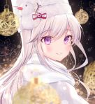 1girl azur_lane bangs blush christmas commentary_request earmuffs enterprise_(azur_lane) enterprise_(reindeer_master)_(azur_lane) eyebrows_visible_through_hair gyozanuko hat highres long_hair looking_at_viewer scarf silver_hair smile solo violet_eyes white_coat white_scarf winter_clothes
