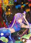 1girl armlet bangs blue_butterfly blue_skirt blurry bracelet bud bug butterfly butterfly_on_hand coin_(ornament) colorful cowboy_shot curtains depth_of_field dutch_angle fate/grand_order fate_(series) fingernails flower from_side glowing_butterfly hair_ornament hair_ribbon hand_on_own_arm hand_up head_chain highres indian_clothes insect jewelry lantern leaf long_fingernails long_hair lotus lying matou_sakura midriff on_stomach parted_lips parvati_(fate/grand_order) pillow pink_nails purple_butterfly purple_hair ribbon see-through short_sleeves skirt skirt_set solo tassel veil violet_eyes water water_drop waterfall yellow_butterfly yuki_mami