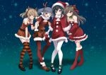 4girls absurdres alternate_costume arashio_(kantai_collection) asashio_(kantai_collection) bare_shoulders belt black_hair blue_eyes blue_hair blush boots brown_dress brown_eyes brown_hair christmas closed_mouth double_bun dress eyebrows_visible_through_hair full_body fur-trimmed_dress fur_boots fur_trim gloves hair_bun hair_ornament hat highres horns kantai_collection light_brown_hair long_hair looking_at_viewer makura_(user_jpmm5733) michishio_(kantai_collection) multiple_girls night night_sky off-shoulder_dress off_shoulder one_eye_closed ooshio_(kantai_collection) open_mouth pantyhose red_dress red_footwear red_gloves santa_boots santa_costume santa_dress santa_hat scarf shawl shoes short_hair short_twintails sky smile striped striped_legwear thigh-highs twintails white_legwear white_scarf yellow_eyes