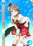 blue_eyes blush cape character_name grey_hair love_live!_school_idol_festival love_live!_sunshine!! short_hair smile watanabe_you wink