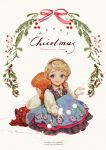 ... 2girls anna_(frozen) aqua_eyes back-to-back bangs blonde_hair braid child dress elsa_(frozen) eyelashes frozen_(disney) hair_over_shoulder hairband holding knees_up leaning_on_person long_sleeves merry_christmas multiple_girls orange_hair parted_lips pom_pom_(clothes) red_lips red_ribbon ribbon say_hana shoes siblings sideways_glance single_braid sisters sitting smile string swept_bangs watermark web_address