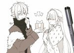 1boy 1girl anastasia_(fate/grand_order) bangs blush box cloak closed_eyes closed_mouth eyebrows_visible_through_hair fate/grand_order fate_(series) fur-trimmed_jacket fur_trim gift gift_box hair_between_eyes hair_ribbon hairband hands_up highres holding holding_gift jacket kadoc_zemlupus long_sleeves looking_away looking_to_the_side monochrome notice_lines open_clothes open_jacket parted_lips photo ribbon royal_robe shirt signature sofra traditional_media upper_body white_background
