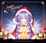 1girl blue_eyes blush braid breasts capelet christmas christmas_ornaments christmas_tree company_name dated eyebrows_visible_through_hair happy_holidays long_hair looking_at_viewer neptune_(series) official_art panties power_symbol purple_hair purple_heart smile solo symbol-shaped_pupils tsunako twin_braids underwear wings
